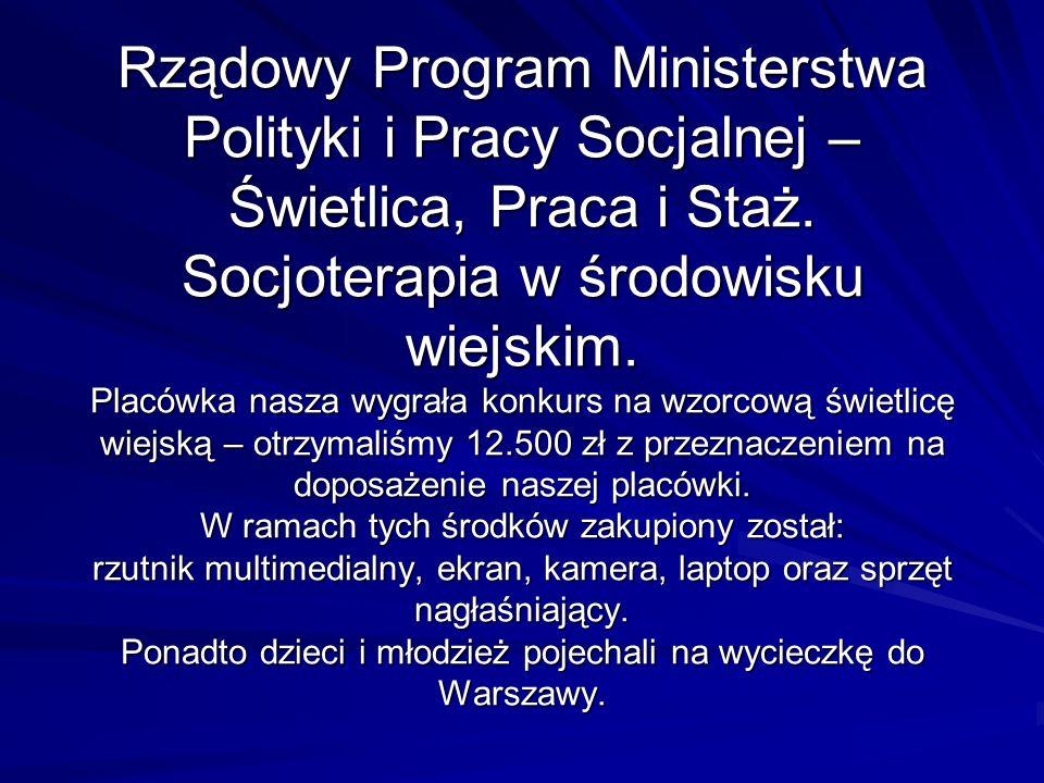 Rządowy Program Ministerstwa Polityki i Pracy Socjalnej – Świetlica, Praca i Staż. Socjoterapia w środowisku wiejskim. Placówka nasza wygrała konkurs