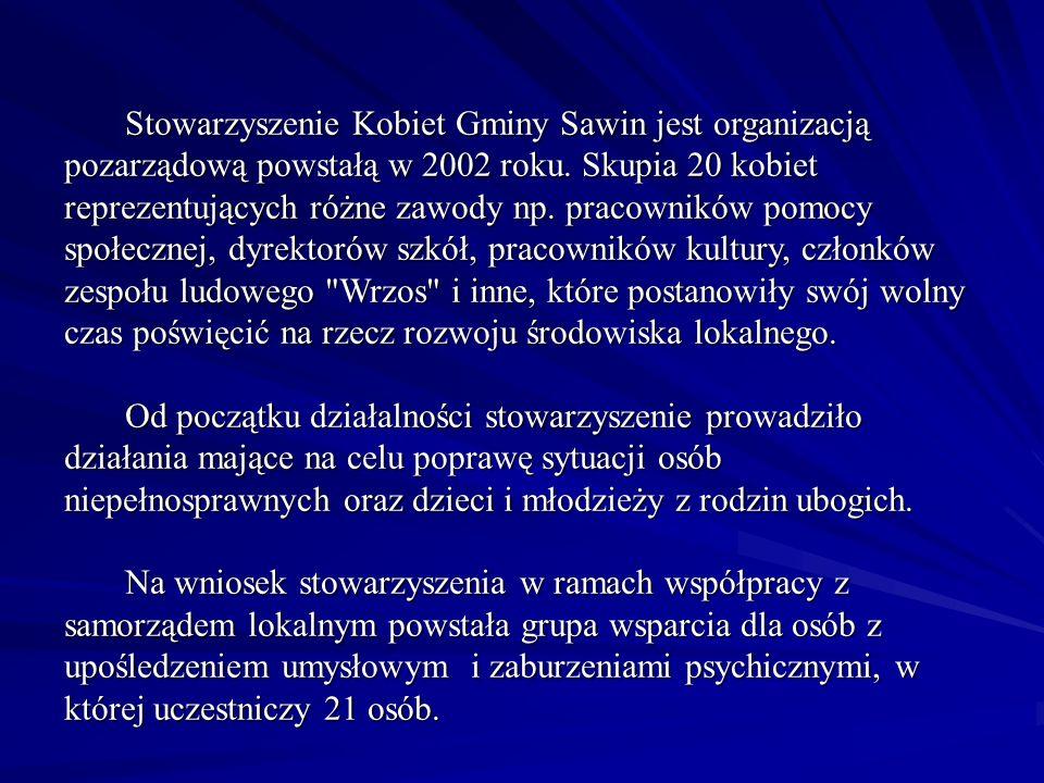W latach 2004 – 2006 Stowarzyszenie Kobiet Sawin pozyskało ponad 200 000 złotych na realizowanie projektów.