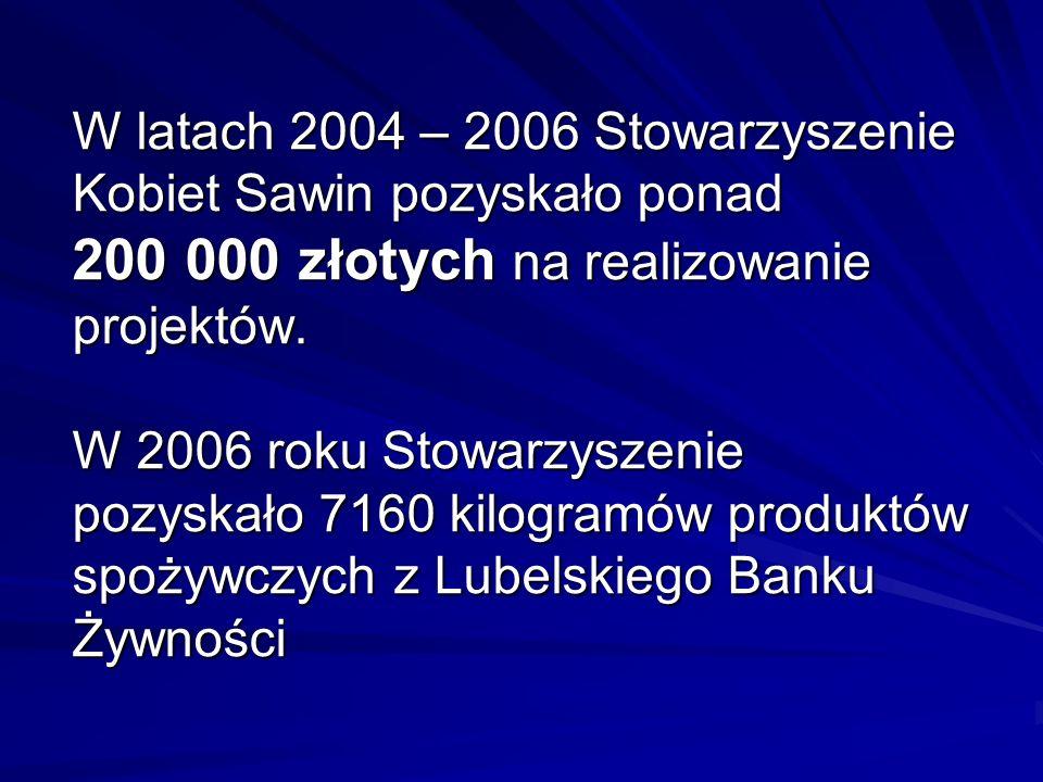 W latach 2004 – 2006 Stowarzyszenie Kobiet Sawin pozyskało ponad 200 000 złotych na realizowanie projektów. W 2006 roku Stowarzyszenie pozyskało 7160