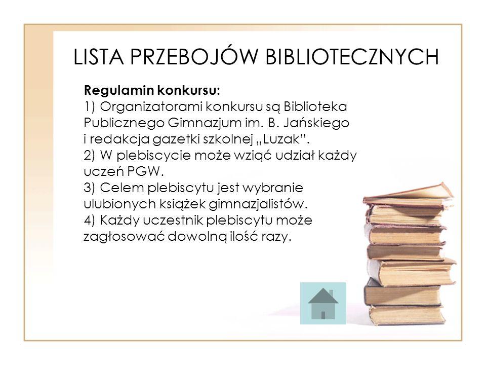 LISTA PRZEBOJÓW BIBLIOTECZNYCH Regulamin konkursu: 1) Organizatorami konkursu są Biblioteka Publicznego Gimnazjum im. B. Jańskiego i redakcja gazetki