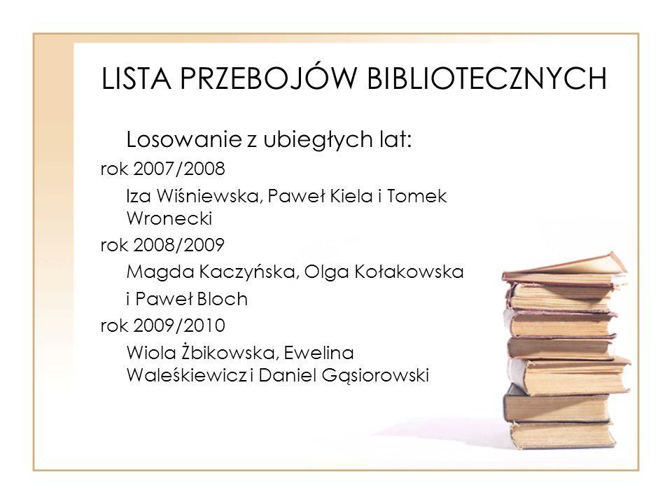 LISTA PRZEBOJÓW BIBLIOTECZNYCH Losowanie z ubiegłych lat: rok 2007/2008 Iza Wiśniewska, Paweł Kiela i Tomek Wronecki rok 2008/2009 Magda Kaczyńska, Ol