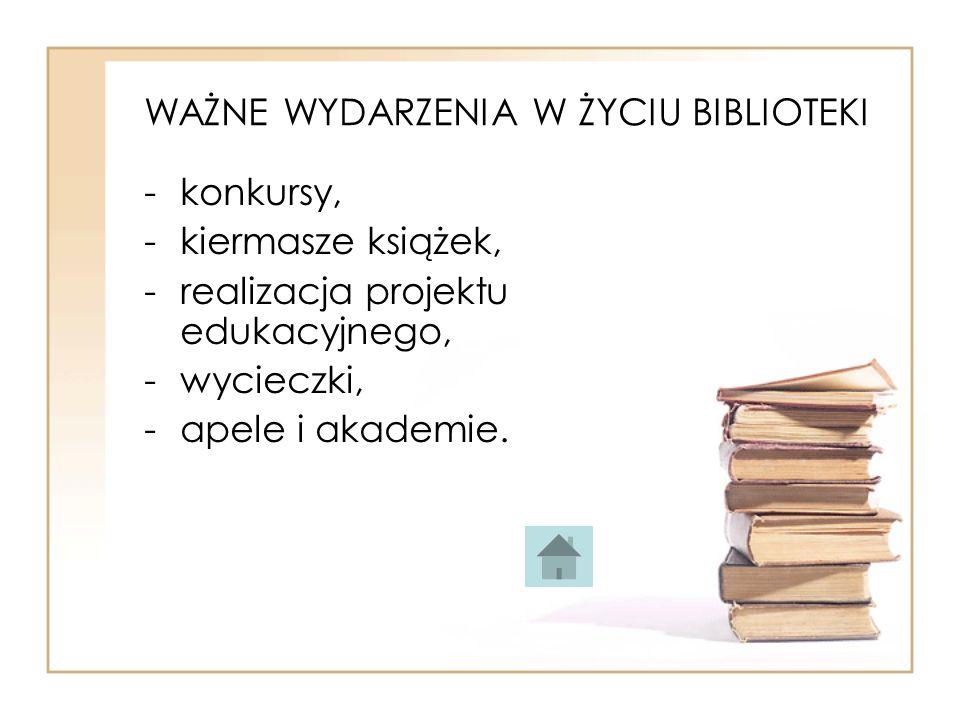 WAŻNE WYDARZENIA W ŻYCIU BIBLIOTEKI -konkursy, -kiermasze książek, -realizacja projektu edukacyjnego, -wycieczki, -apele i akademie.
