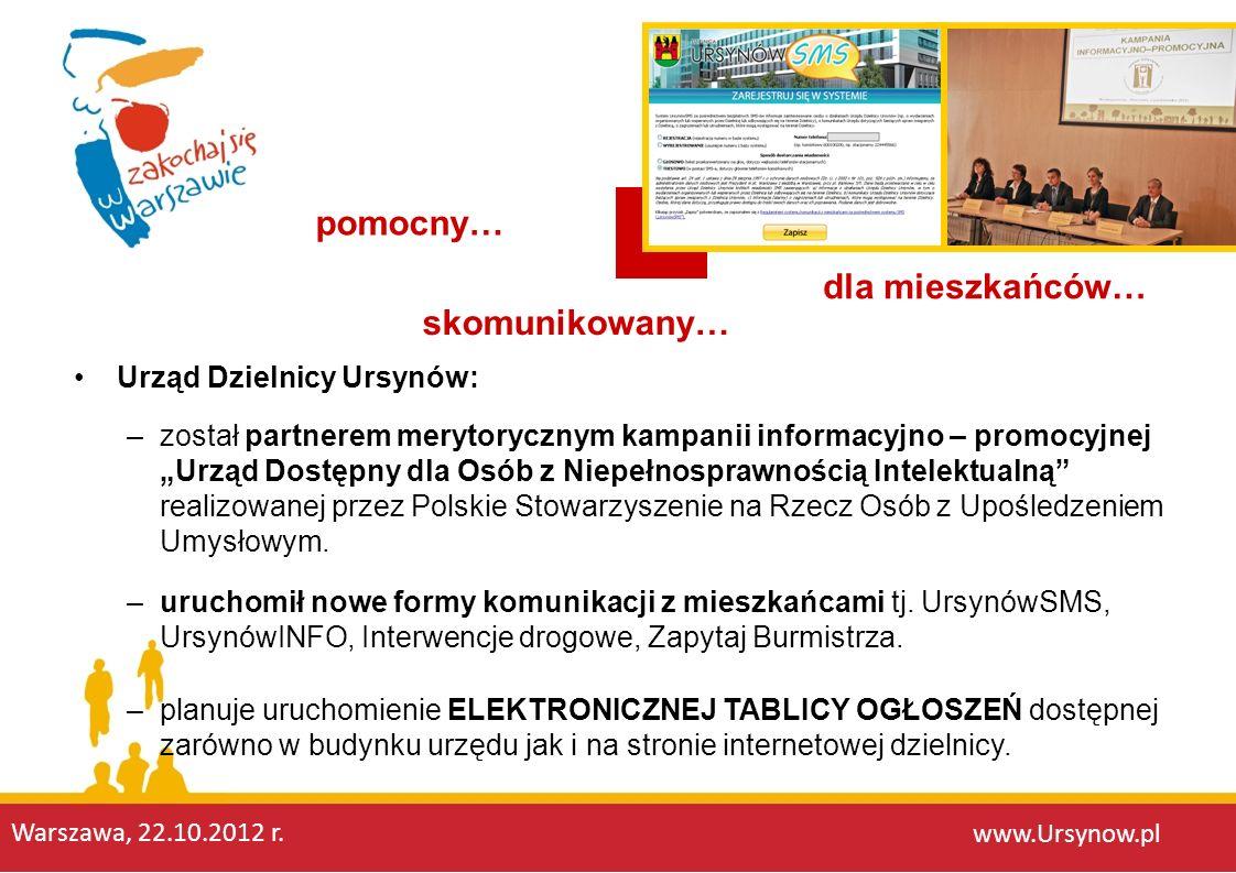 Urząd Dzielnicy Ursynów: www.Ursynow.pl skomunikowany… pomocny… dla mieszkańców… –został partnerem merytorycznym kampanii informacyjno – promocyjnej U