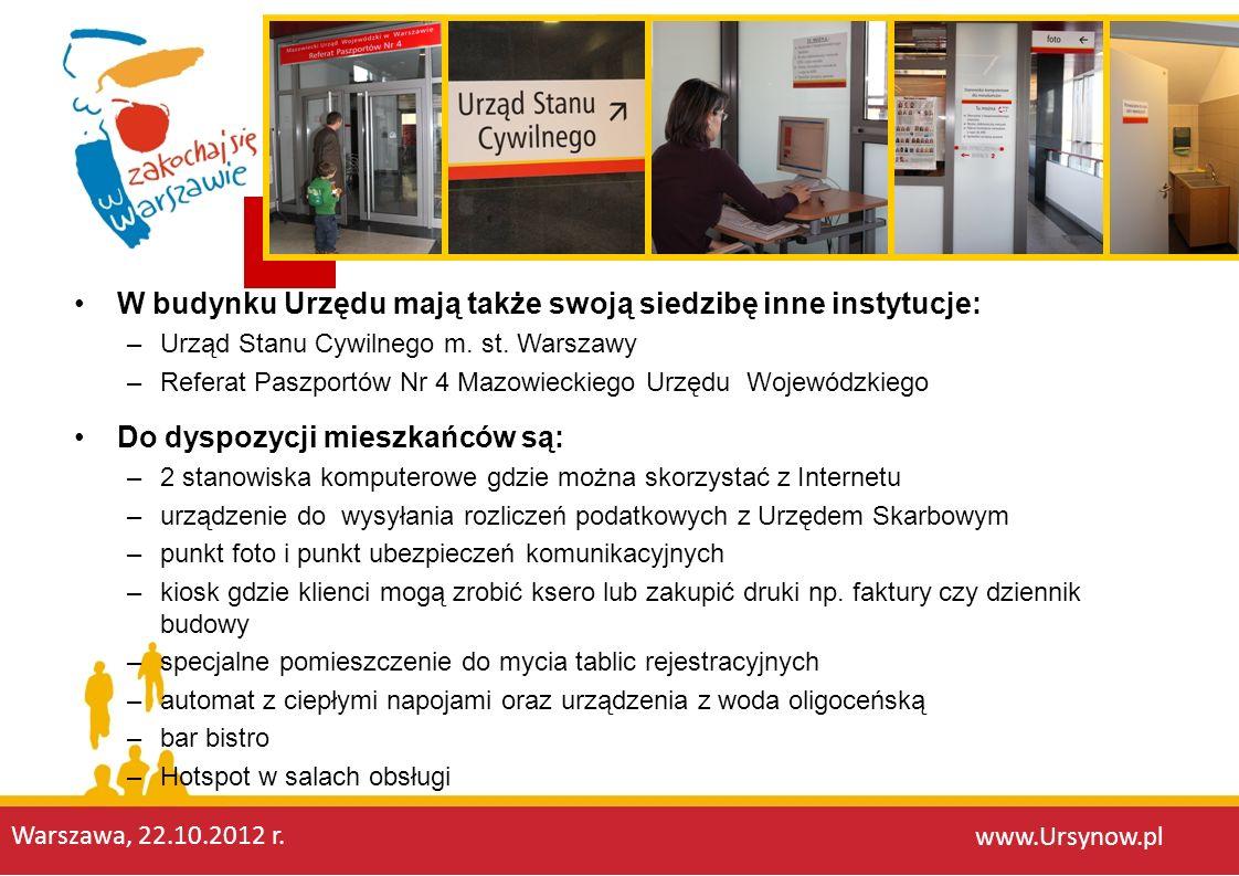 W budynku Urzędu mają także swoją siedzibę inne instytucje: –Urząd Stanu Cywilnego m. st. Warszawy –Referat Paszportów Nr 4 Mazowieckiego Urzędu Wojew