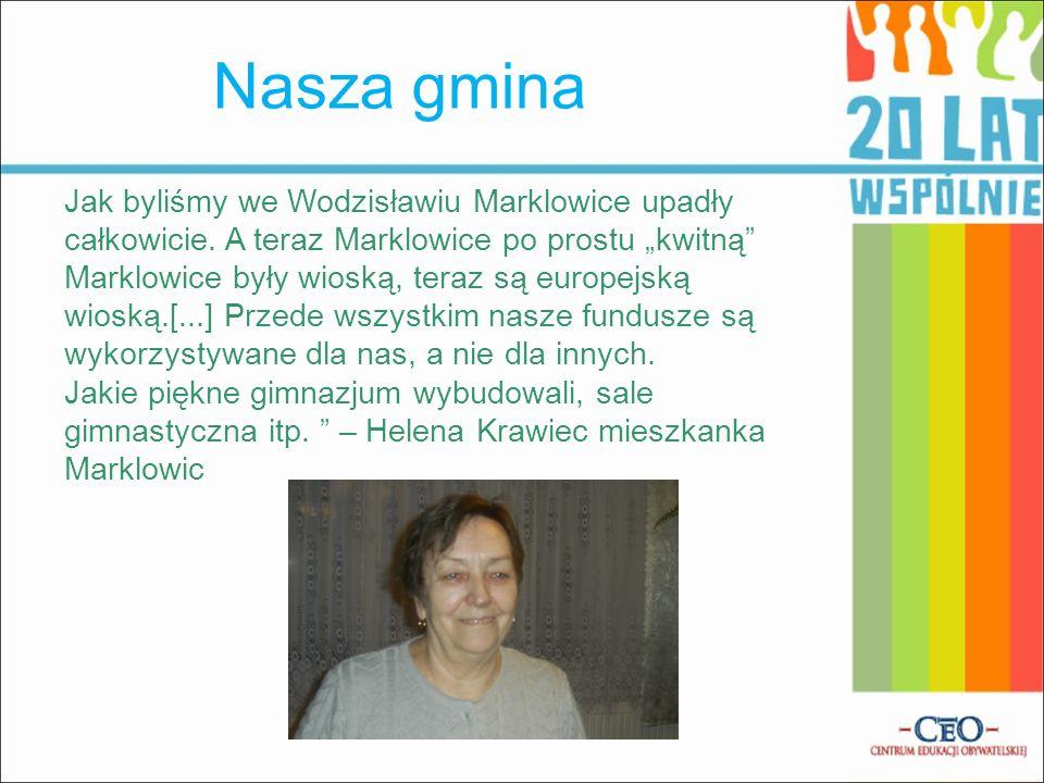 Nasza gmina Jak byliśmy we Wodzisławiu Marklowice upadły całkowicie. A teraz Marklowice po prostu kwitną Marklowice były wioską, teraz są europejską w