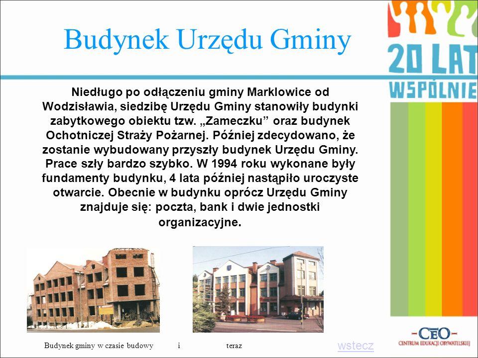 Budynek Urzędu Gminy Niedługo po odłączeniu gminy Marklowice od Wodzisławia, siedzibę Urzędu Gminy stanowiły budynki zabytkowego obiektu tzw. Zameczku