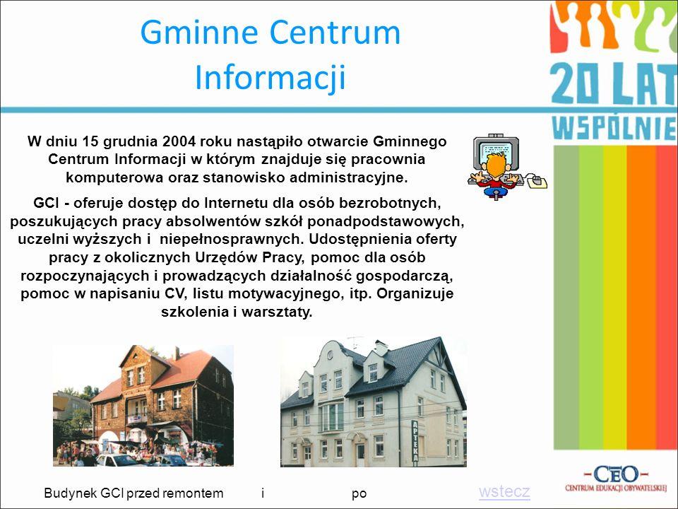 Gminne Centrum Informacji W dniu 15 grudnia 2004 roku nastąpiło otwarcie Gminnego Centrum Informacji w którym znajduje się pracownia komputerowa oraz
