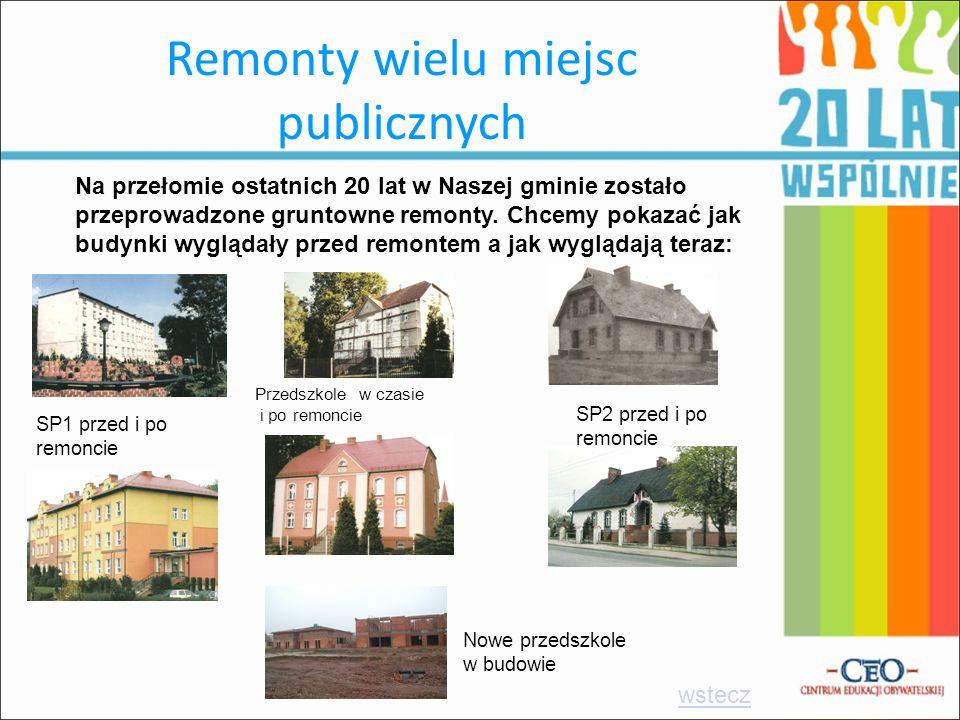 Remonty wielu miejsc publicznych Na przełomie ostatnich 20 lat w Naszej gminie zostało przeprowadzone gruntowne remonty. Chcemy pokazać jak budynki wy