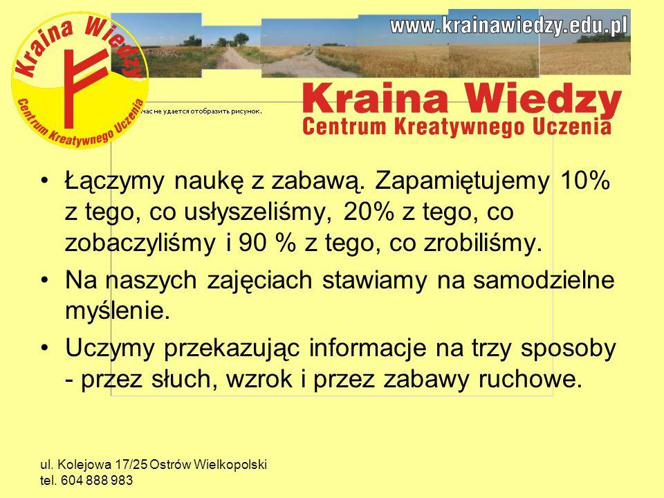 ul.Kolejowa 17/25 Ostrów Wielkopolski tel. 604 888 983 Łączymy naukę z zabawą.