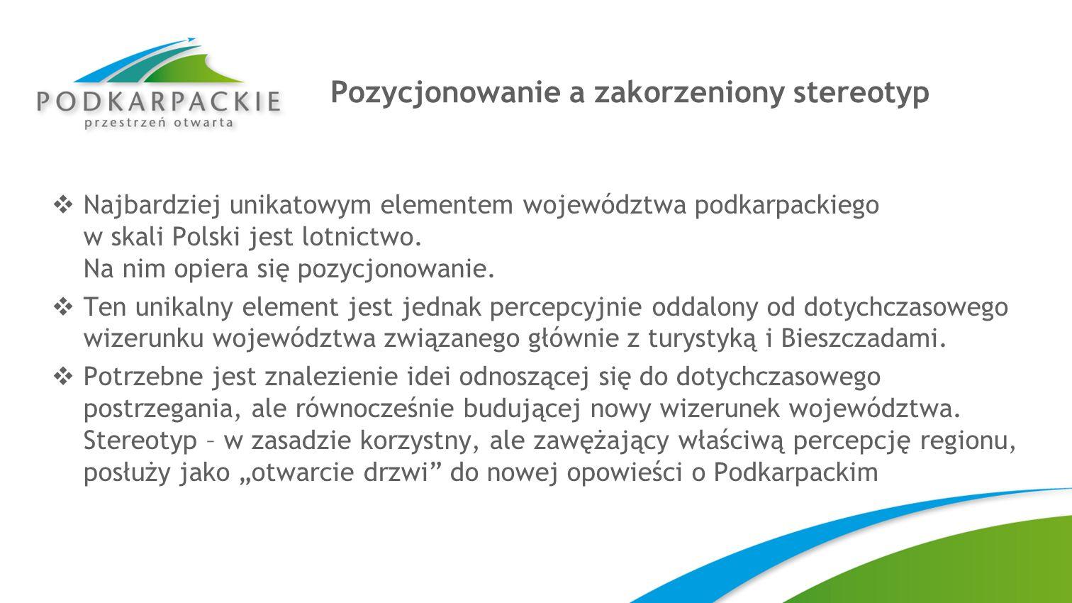 Pozycjonowanie a zakorzeniony stereotyp Najbardziej unikatowym elementem województwa podkarpackiego w skali Polski jest lotnictwo. Na nim opiera się p