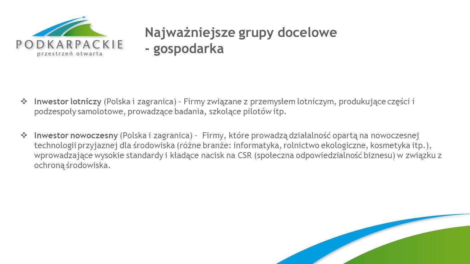 Najważniejsze grupy docelowe - gospodarka Inwestor lotniczy (Polska i zagranica) – Firmy związane z przemysłem lotniczym, produkujące części i podzesp