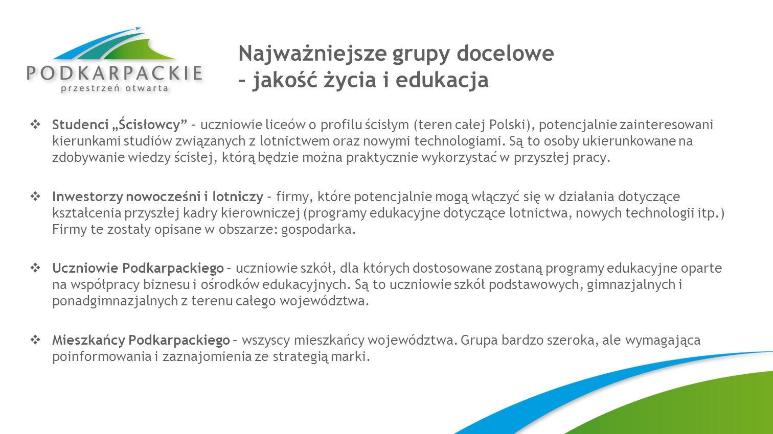 Najważniejsze grupy docelowe – jakość życia i edukacja Studenci Ścisłowcy – uczniowie liceów o profilu ścisłym (teren całej Polski), potencjalnie zain