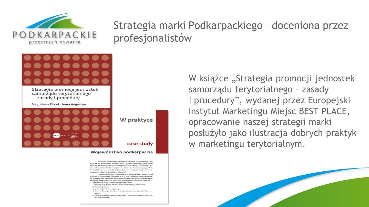 Strategia marki Podkarpackiego – doceniona przez profesjonalistów W książce Strategia promocji jednostek samorządu terytorialnego – zasady i procedury