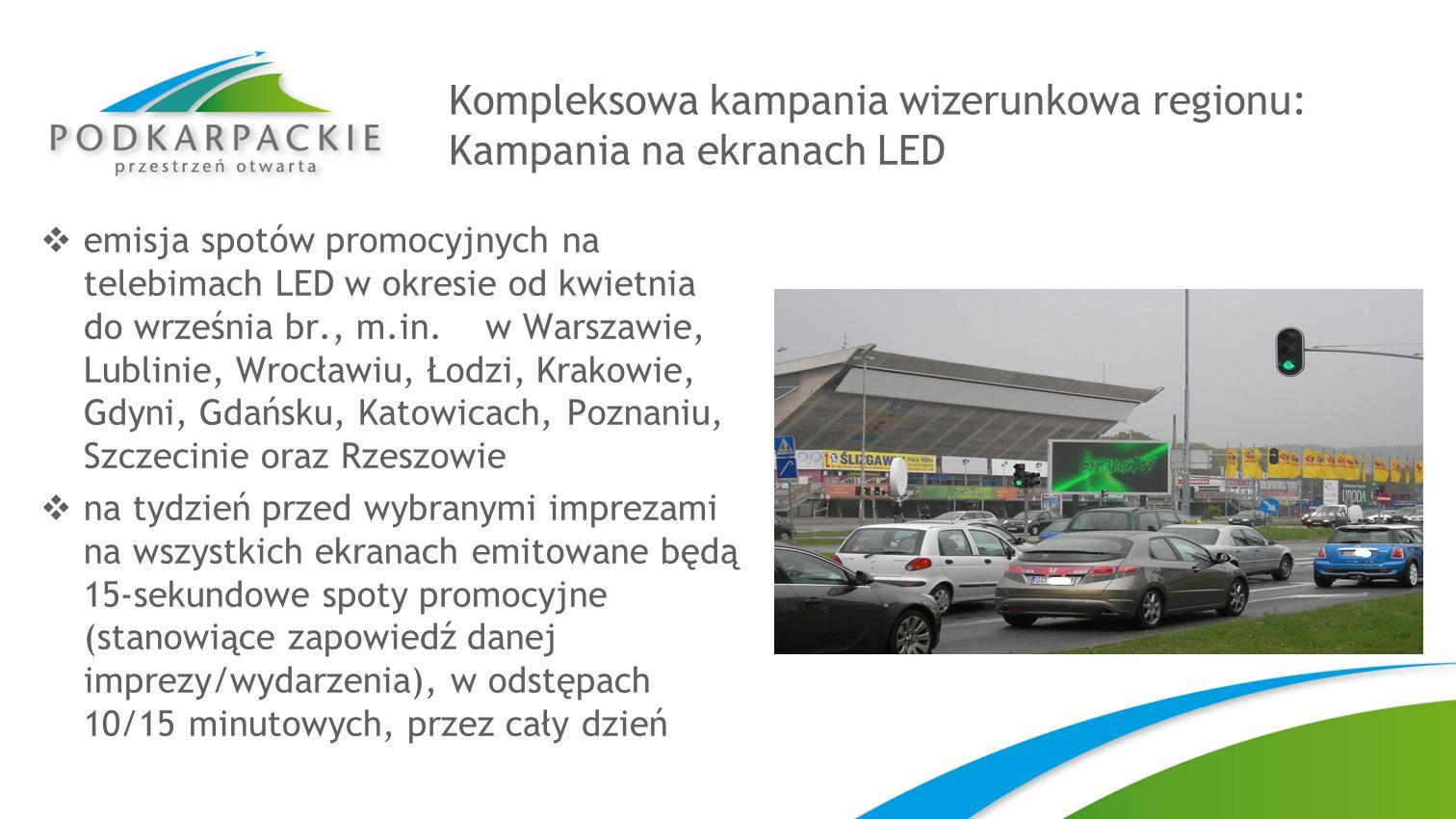 Kompleksowa kampania wizerunkowa regionu: Kampania na ekranach LED emisja spotów promocyjnych na telebimach LED w okresie od kwietnia do września br.,