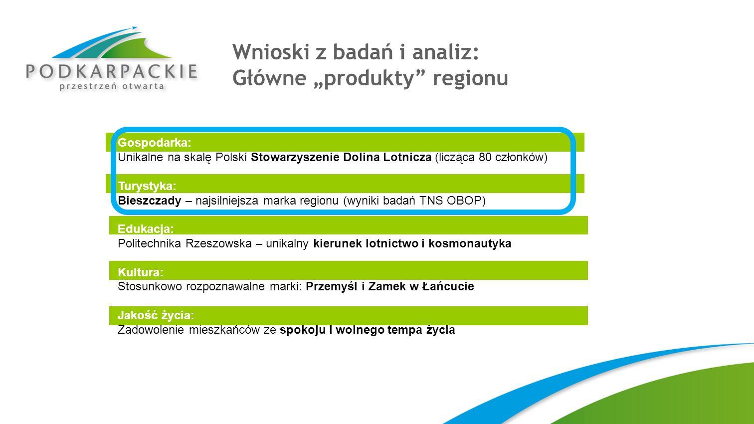 Wnioski z badań i analiz: Główne produkty regionu Gospodarka: Unikalne na skalę Polski Stowarzyszenie Dolina Lotnicza (licząca 80 członków) Turystyka: