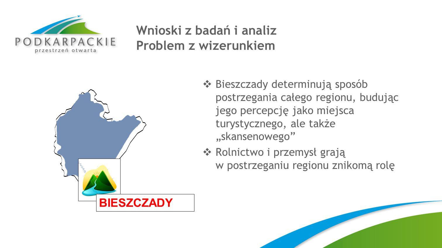 Wnioski z badań i analiz Problem z wizerunkiem Bieszczady determinują sposób postrzegania całego regionu, budując jego percepcję jako miejsca turystyc