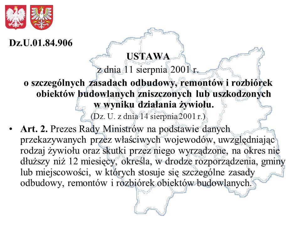 Dz.U.01.84.906 USTAWA z dnia 11 sierpnia 2001 r. o szczególnych zasadach odbudowy, remontów i rozbiórek obiektów budowlanych zniszczonych lub uszkodzo