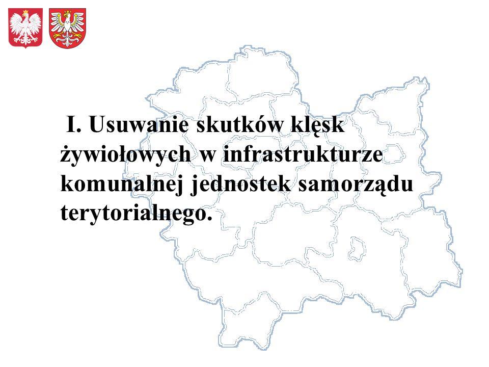 I. Usuwanie skutków klęsk żywiołowych w infrastrukturze komunalnej jednostek samorządu terytorialnego.