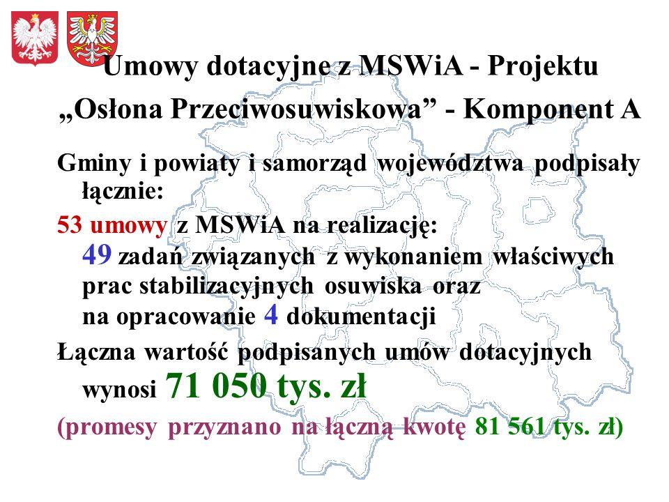 Umowy dotacyjne z MSWiA - Projektu Osłona Przeciwosuwiskowa - Komponent A Gminy i powiaty i samorząd województwa podpisały łącznie: 53 umowy z MSWiA n