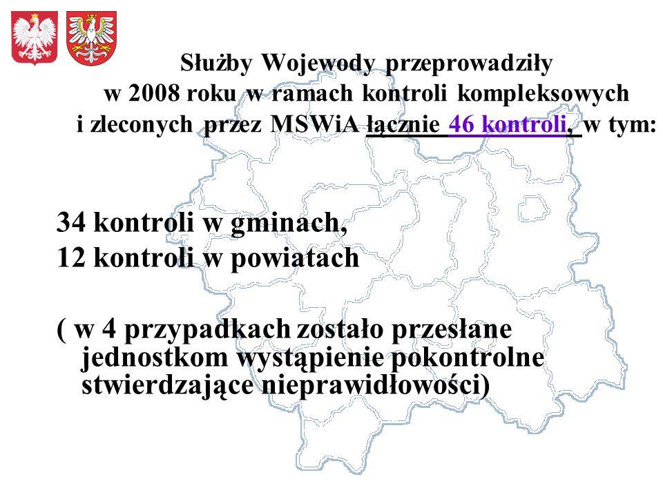 Służby Wojewody przeprowadziły w 2008 roku w ramach kontroli kompleksowych i zleconych przez MSWiA łącznie 46 kontroli, w tym: 34 kontroli w gminach,