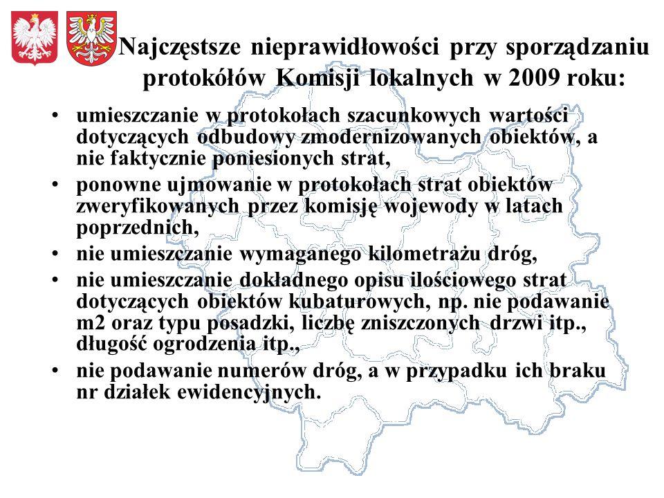 Najczęstsze nieprawidłowości przy sporządzaniu protokółów Komisji lokalnych w 2009 roku: umieszczanie w protokołach szacunkowych wartości dotyczących