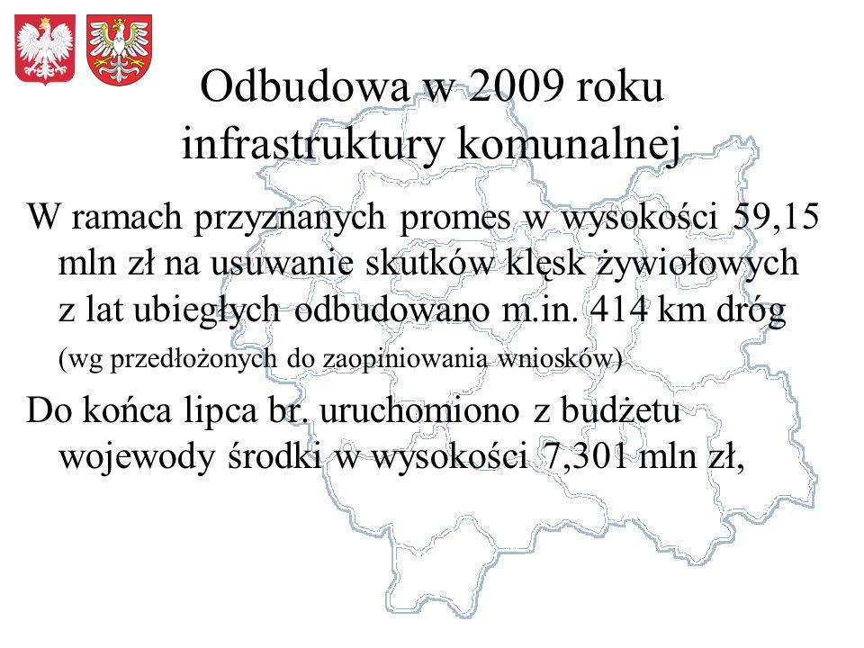 Odbudowa w 2009 roku infrastruktury komunalnej W ramach przyznanych promes w wysokości 59,15 mln zł na usuwanie skutków klęsk żywiołowych z lat ubiegł