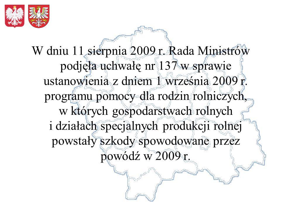 W dniu 11 sierpnia 2009 r. Rada Ministrów podjęła uchwałę nr 137 w sprawie ustanowienia z dniem 1 września 2009 r. programu pomocy dla rodzin rolniczy