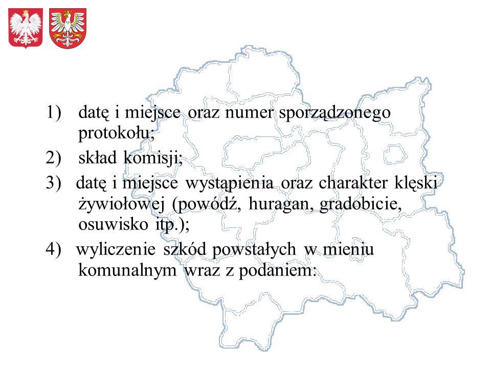 1)datę i miejsce oraz numer sporządzonego protokołu; 2)skład komisji; 3) datę i miejsce wystąpienia oraz charakter klęski żywiołowej (powódź, huragan,