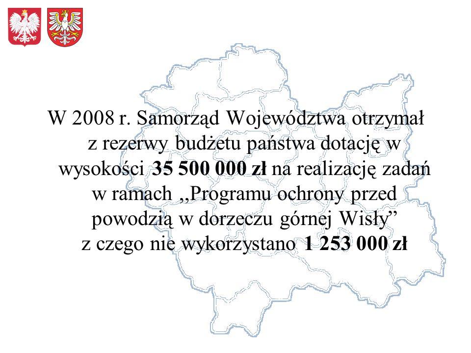 W 2008 r. Samorząd Województwa otrzymał z rezerwy budżetu państwa dotację w wysokości 35 500 000 zł na realizację zadań w ramach,,Programu ochrony prz
