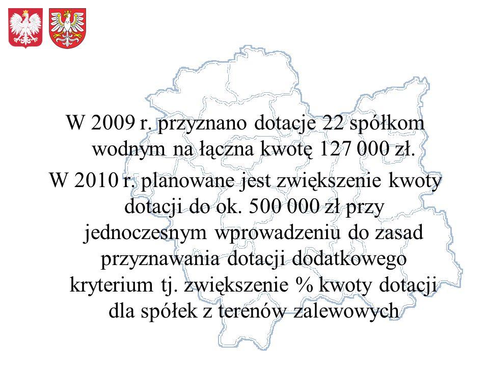 W 2009 r. przyznano dotacje 22 spółkom wodnym na łączna kwotę 127 000 zł. W 2010 r. planowane jest zwiększenie kwoty dotacji do ok. 500 000 zł przy je