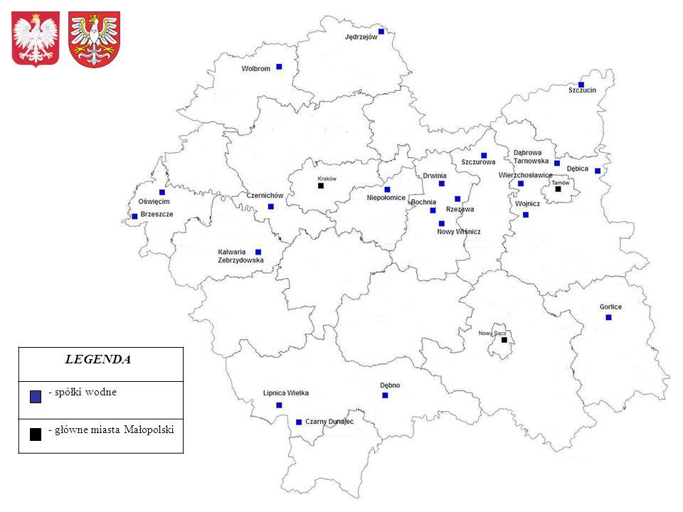 LEGENDA - spółki wodne - główne miasta Małopolski