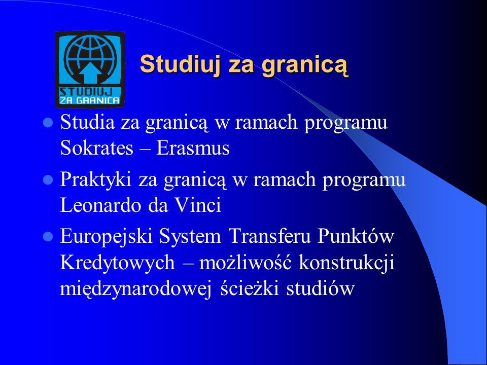 Studiuj za granicą Studia za granicą w ramach programu Sokrates – Erasmus Praktyki za granicą w ramach programu Leonardo da Vinci Europejski System Transferu Punktów Kredytowych – możliwość konstrukcji międzynarodowej ścieżki studiów