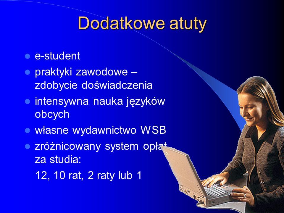 Dodatkowe atuty e-student praktyki zawodowe – zdobycie doświadczenia intensywna nauka języków obcych własne wydawnictwo WSB zróżnicowany system opłat za studia: 12, 10 rat, 2 raty lub 1
