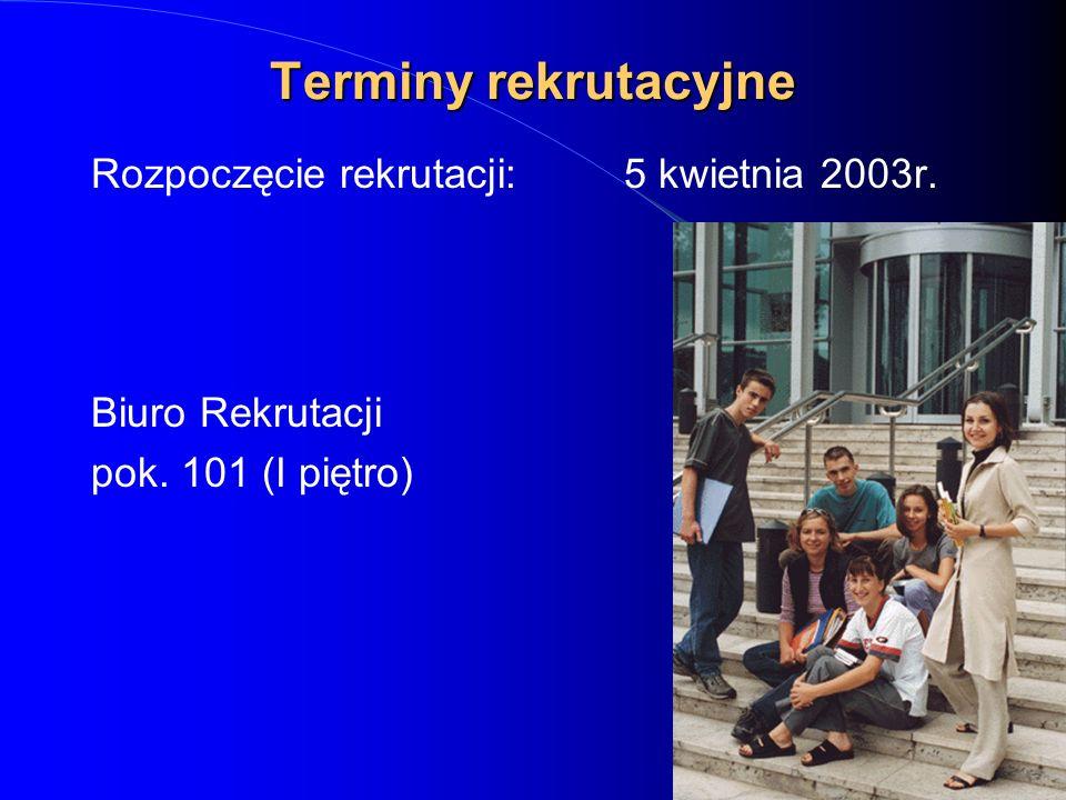 Terminy rekrutacyjne Rozpoczęcie rekrutacji:5 kwietnia 2003r. Biuro Rekrutacji pok. 101 (I piętro)