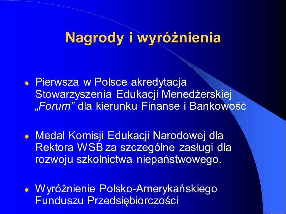 Nagrody i wyróżnienia Pierwsza w Polsce akredytacja Stowarzyszenia Edukacji Menedżerskiej Forum dla kierunku Finanse i Bankowość Medal Komisji Edukacji Narodowej dla Rektora WSB za szczególne zasługi dla rozwoju szkolnictwa niepaństwowego.