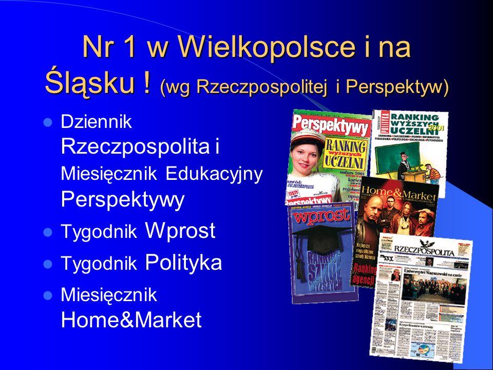 Nr 1 w Wielkopolsce i na Śląsku ! (wg Rzeczpospolitej i Perspektyw) Dziennik Rzeczpospolita i Miesięcznik Edukacyjny Perspektywy Tygodnik Wprost Tygod