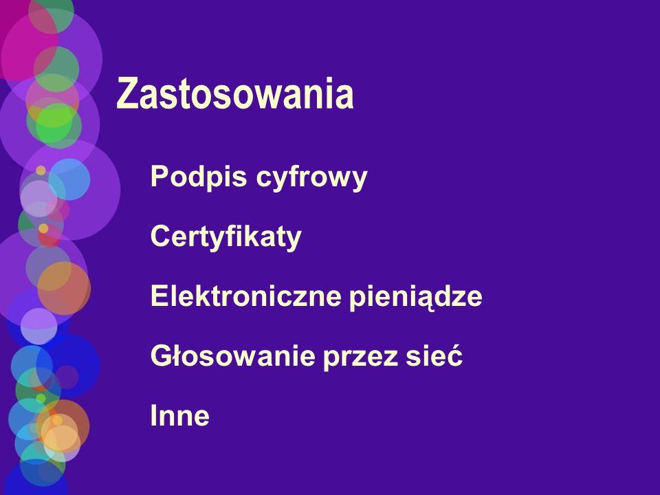 Zastosowania Podpis cyfrowy Certyfikaty Elektroniczne pieniądze Głosowanie przez sieć Inne