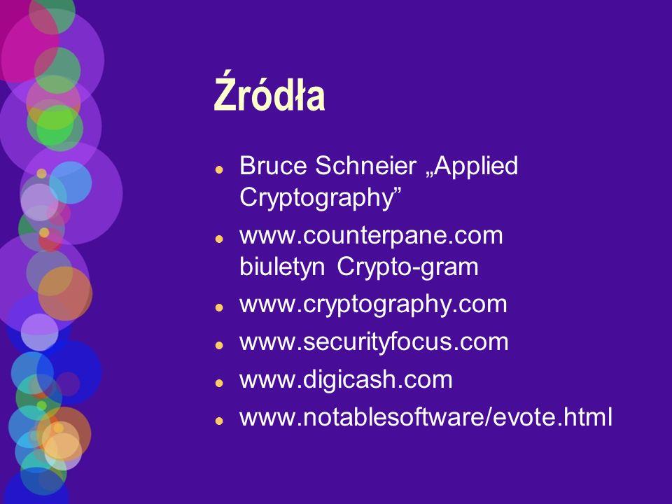 Źródła l Bruce Schneier Applied Cryptography l www.counterpane.com biuletyn Crypto-gram l www.cryptography.com l www.securityfocus.com l www.digicash.