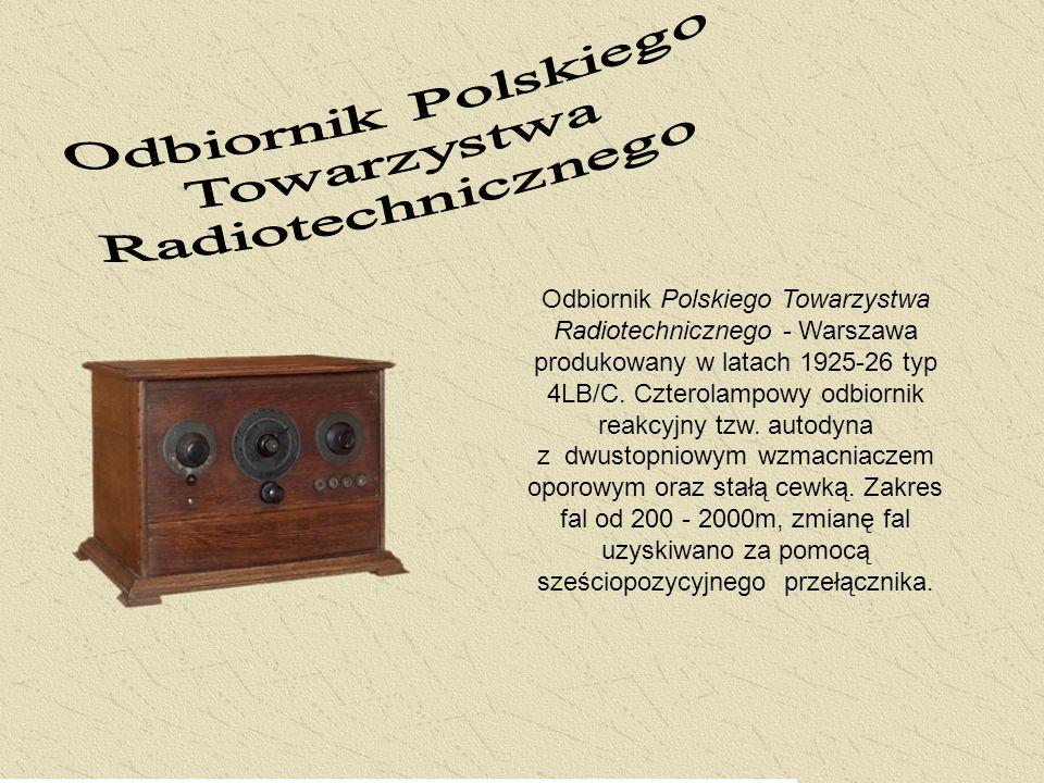 Odbiornik Polskiego Towarzystwa Radiotechnicznego - Warszawa produkowany w latach 1925-26 typ 4LB/C. Czterolampowy odbiornik reakcyjny tzw. autodyna z