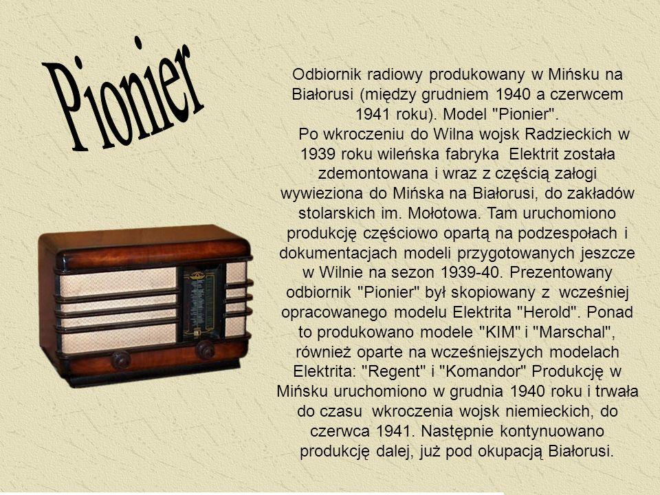 Odbiornik radiowy produkowany w Mińsku na Białorusi (między grudniem 1940 a czerwcem 1941 roku). Model