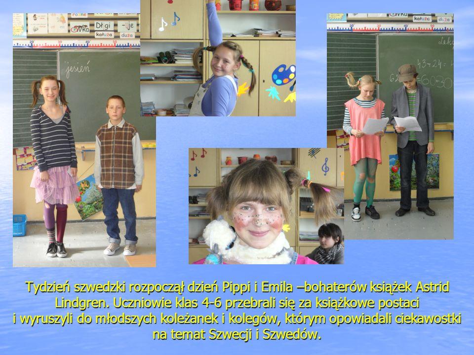 Tydzień szwedzki rozpoczął dzień Pippi i Emila –bohaterów książek Astrid Lindgren. Uczniowie klas 4-6 przebrali się za książkowe postaci i wyruszyli d