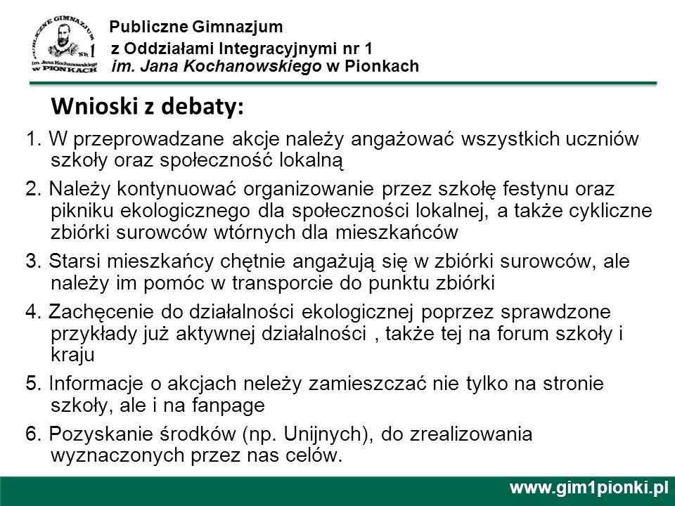 Publiczne Gimnazjum z Oddziałami Integracyjnymi nr 1 im. Jana Kochanowskiego w Pionkach Wnioski z debaty: 1. W przeprowadzane akcje należy angażować w