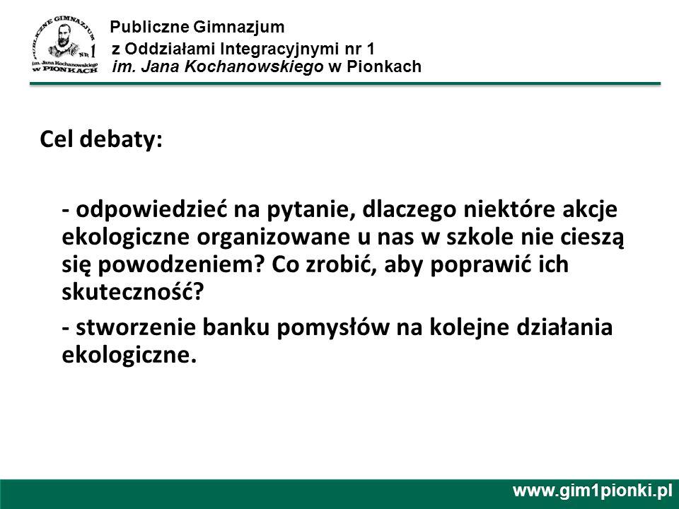 Publiczne Gimnazjum z Oddziałami Integracyjnymi nr 1 im. Jana Kochanowskiego w Pionkach Cel debaty: - odpowiedzieć na pytanie, dlaczego niektóre akcje