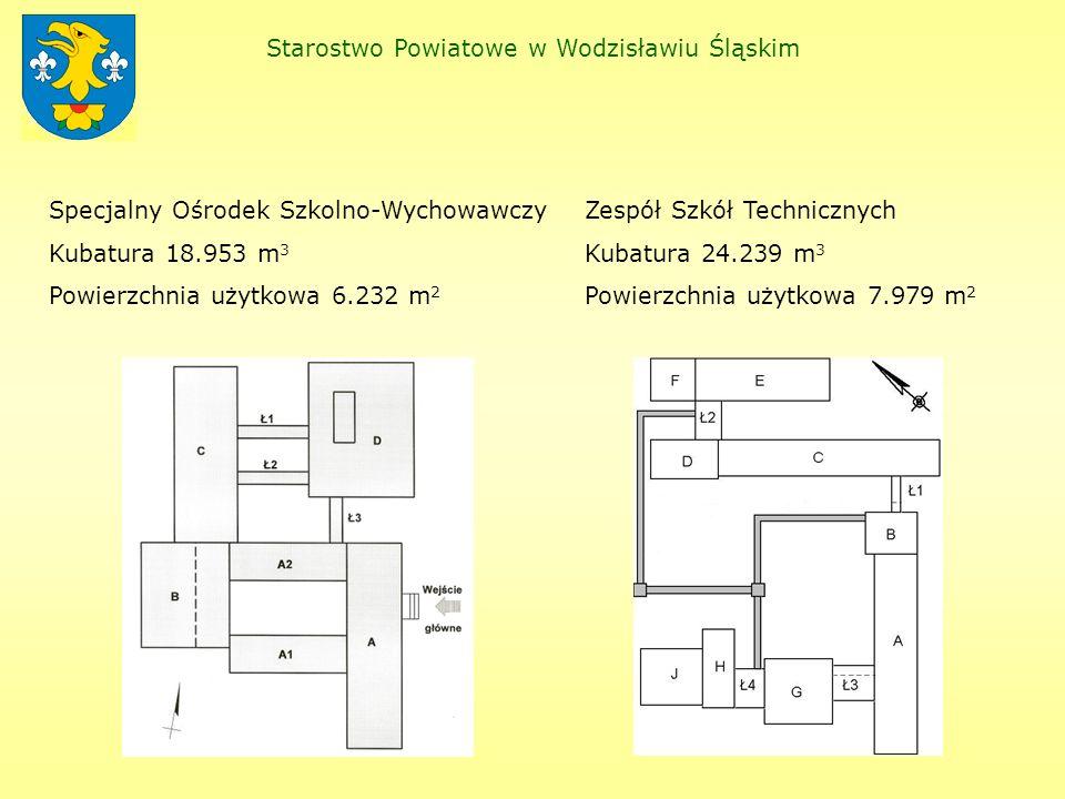 Starostwo Powiatowe w Wodzisławiu Śląskim Specjalny Ośrodek Szkolno-Wychowawczy Kubatura 18.953 m 3 Powierzchnia użytkowa 6.232 m 2 Zespół Szkół Technicznych Kubatura 24.239 m 3 Powierzchnia użytkowa 7.979 m 2