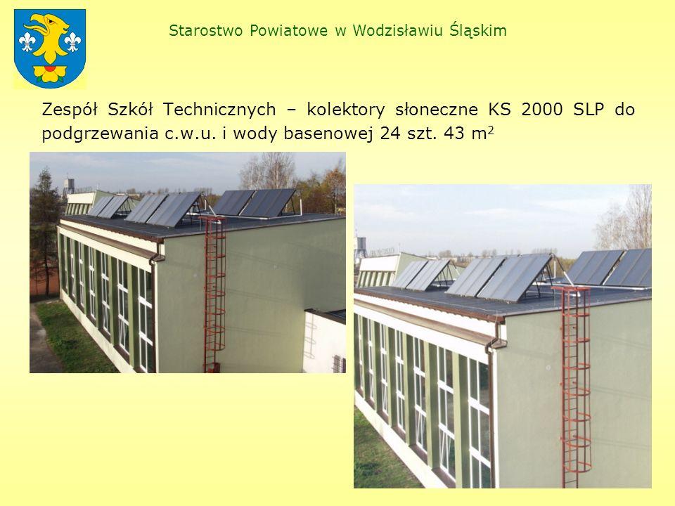 Teoretycznie w naszych warunkach wygląda to następująco: SOSW – 36 m 2 x 500 kWh/m 2 = 18 000 kWh => 64,8 GJ ZST – 43 m 2 x 500 kWh/m 2 = 21 500 kWh => 77,4 GJ W praktyce w Zespole Szkół Technicznych licznik ciepła w roku 2005 wskazał 67,0 GJ, wynika z tego, iż instalacja pracowała ze sprawnością ok.