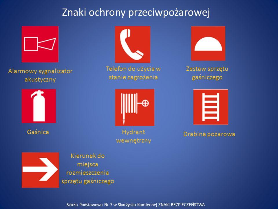 Znaki związane z ewakuacją Drzwi ewakuacyjne Przesunąć w celu otwarcia Pchnąć, aby otworzyć Ciągnąć, aby otworzyćStłuc, aby uzyskać dostęp Kierunek drogi ewakuacyjnej Szkoła Podstawowa Nr 7 w Skarżysku-Kamiennej ZNAKI BEZPIECZEŃSTWA