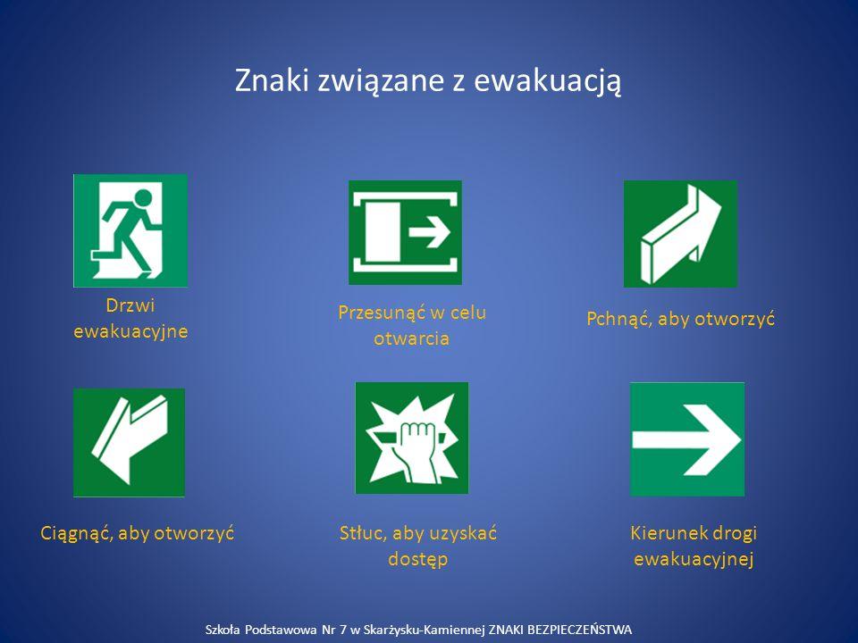 Znaki związane z ewakuacją Drzwi ewakuacyjne Przesunąć w celu otwarcia Pchnąć, aby otworzyć Ciągnąć, aby otworzyćStłuc, aby uzyskać dostęp Kierunek dr