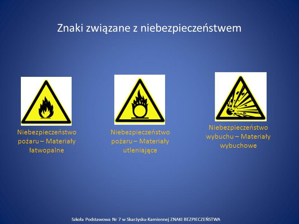 Znaki związane z niebezpieczeństwem Niebezpieczeństwo pożaru – Materiały łatwopalne Niebezpieczeństwo pożaru – Materiały utleniające Niebezpieczeństwo