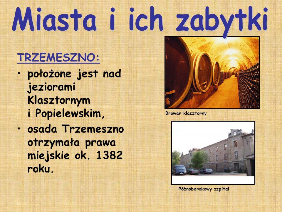 TRZEMESZNO: położone jest nad jeziorami Klasztornym i Popielewskim, osada Trzemeszno otrzymała prawa miejskie ok. 1382 roku. Browar klasztorny Późnoba