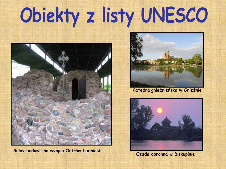 Ruiny budowli na wyspie Ostrów Lednicki Katedra gnieźnieńska w Gnieźnie Osada obronna w Biskupinie